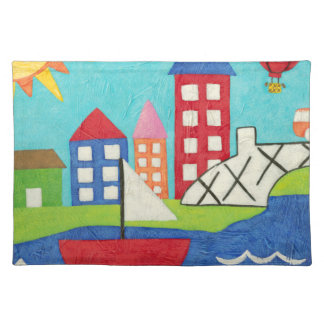 Sailboat and Hot Air Balloon with Cityscape Placemat