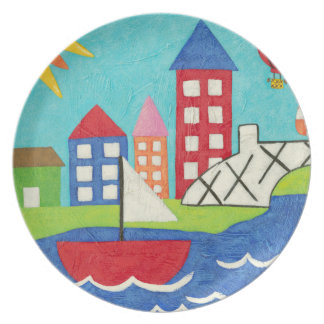 Sailboat and Hot Air Balloon with Cityscape Plate
