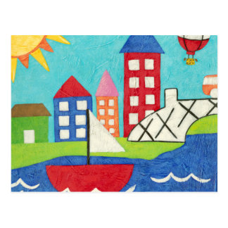 Sailboat and Hot Air Balloon with Cityscape Postcard