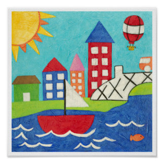 Sailboat and Hot Air Balloon with Cityscape Poster
