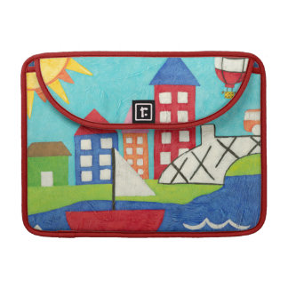 Sailboat and Hot Air Balloon with Cityscape Sleeve For MacBook Pro