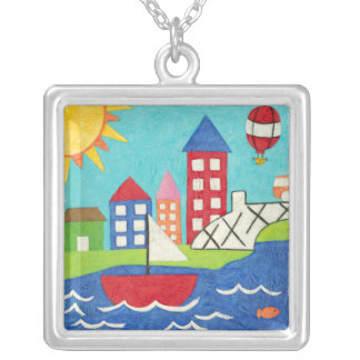 Sailboat and Hot Air Balloon with Cityscape Square Pendant Necklace