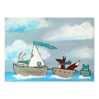 Sailboat Animals Fox Rabbit Owl Whimsical Woodland Card