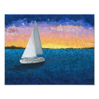 Sailboat art nautical home decor, ocean sunset art photo print