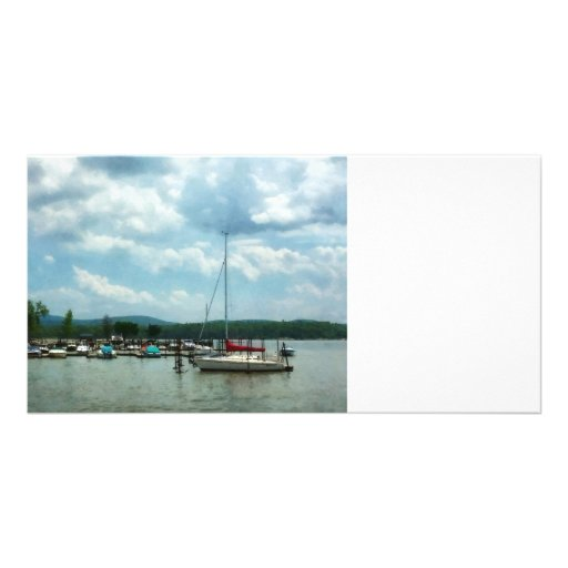 Sailboat at Dock Cold Springs NY Personalized Photo Card