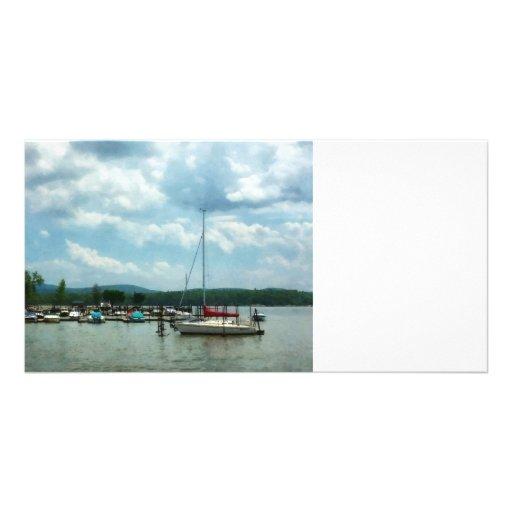 Sailboat at Dock Cold Springs NY Personalized Photo Card
