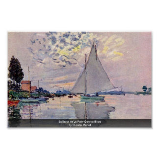 Sailboat At Le Petit-Gennevilliers By Claude Monet Poster