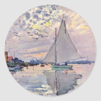 Sailboat At Le Petit-Gennevilliers By Claude Monet Round Sticker