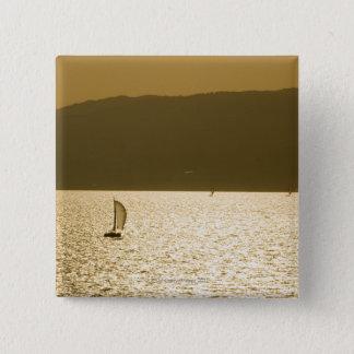 Sailboat at Mediterranean Sea 15 Cm Square Badge