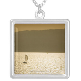 Sailboat at Mediterranean Sea Silver Plated Necklace