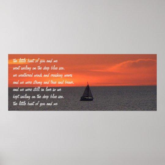 Sailboat At Sea At Sunset Poster