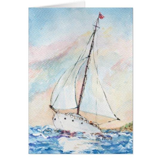 Sailboat at Sea Fine Art Watercolor Painting Card
