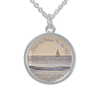 Sailboat At Sea/ Muted Colors /Must Go Down To Sterling Silver Necklace