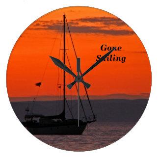Sailboat at Sunset Clock, Orange Sky Wall Clocks