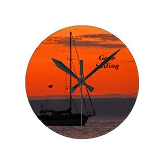 Sailboat at Sunset Clock, Small Round Wallclock