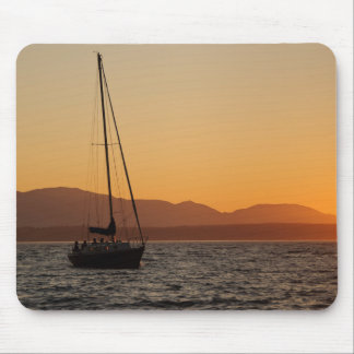 Sailboat At Sunset On The Puget Sound Mouse Mat