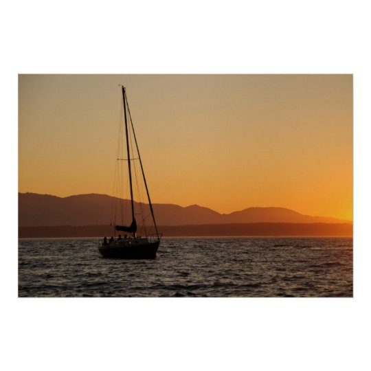Sailboat At Sunset On The Puget Sound Poster