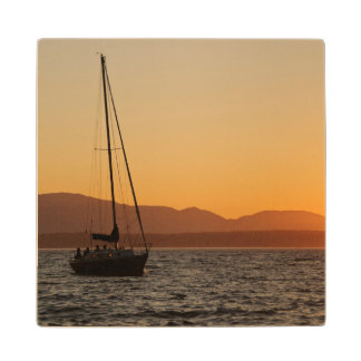 Sailboat At Sunset On The Puget Sound Wood Coaster