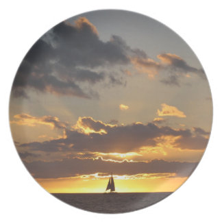 Sailboat at sunset plate