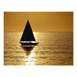 Sailboat at sunset sloop full color flyer