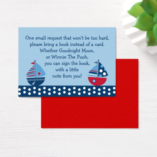 Sailboat Baby Shower Book Request Cards