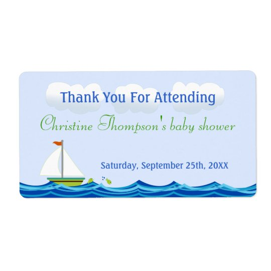 Sailboat Baby Shower Water Bottle Labels