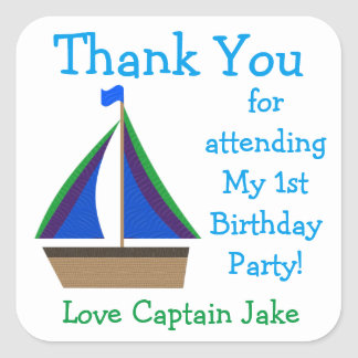 Sailboat Birthday Party Favor Stickers
