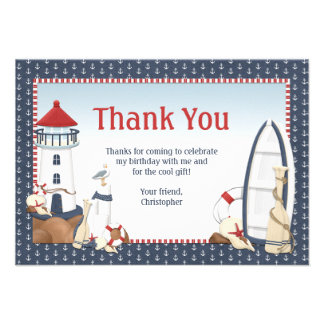 Sailboat Birthday Party Thank You Card