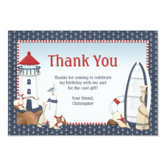 "Sailboat Birthday Party Thank You Card 3.5"" X 5"" Invitation Card"