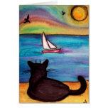 Sailboat Black Cat Greeting Card