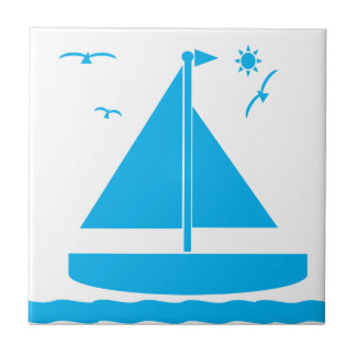 Sailboat Blue Small Square Tile