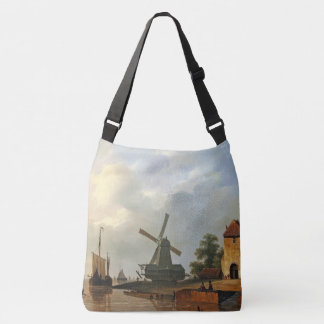 Sailboat Boat Ocean Dutch Windmill Tote Bag