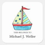 Sailboat Bookplates    I.D. Labels Sticker