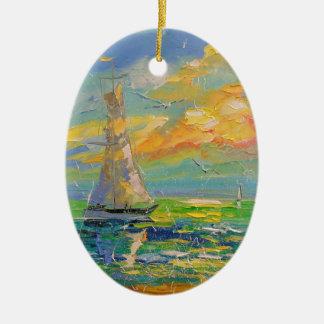 Sailboat Ceramic Oval Decoration