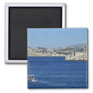 Sailboat cruising by Chateau d'If in Marseille's Fridge Magnet