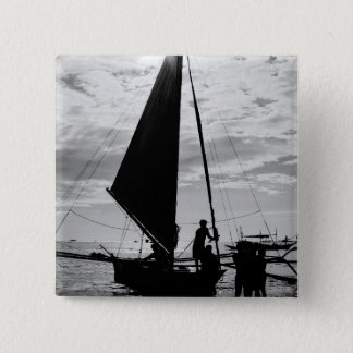 Sailboat Docked On The Shore 15 Cm Square Badge