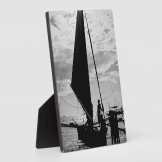 Sailboat Docked On The Shore Display Plaques