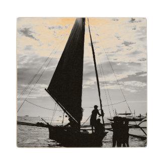 Sailboat Docked On The Shore Wood Coaster