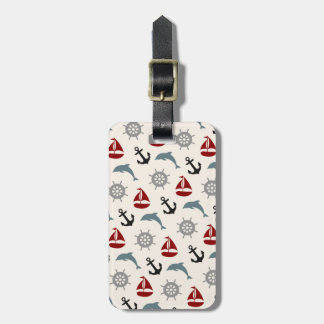Sailboat Dolphin Anchor Pattern Navy and Red Bag Tag