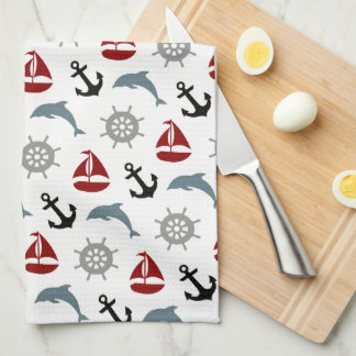 Sailboat Dolphin Anchor Pattern Navy and Red Tea Towel