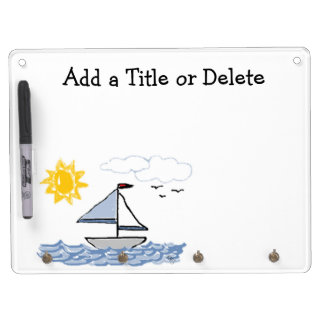 Sailboat Dry Erase Board With Key Ring Holder