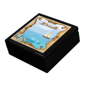 Sailboat Father's Day Gift Box/Trinket Box Large Square Gift Box