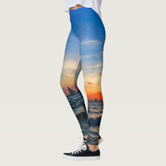 Sailboat Flotilla in Silhouette Leggings