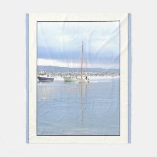 Sailboat Harbor Ocean Sailing Fleece Blanket