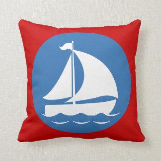 Sailboat in a Blue Circle Cushion