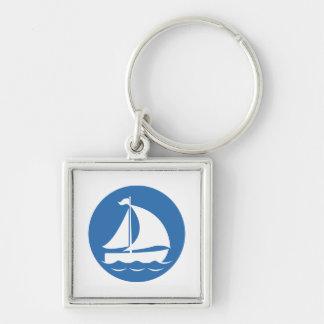 Sailboat in a Blue Circle Key Ring