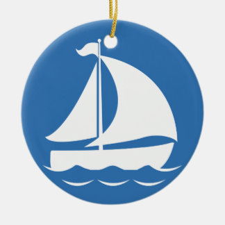 Sailboat in a Blue Circle Round Ceramic Decoration
