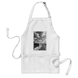 Sailboat in Dock Black and White Standard Apron