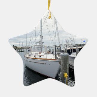Sailboat in harbor christmas ornament