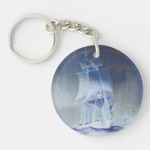 Sailboat in light pastel colors. acrylic keychain